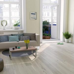 Room scene with Outer Banks engineered hardwood flooring in Warm Pashmina