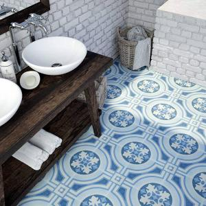 Bathroom renovation with Hydraulic tile in Blue